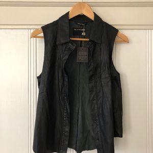 Rag & Bone butter soft black leather vest NWT